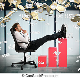 How to make more money - Man in office with coins and...