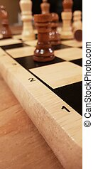 How to play wooden board game chess. Improvisation and Different angles of chess sets, pieces and chessboard. White and black figures and board of chess game.