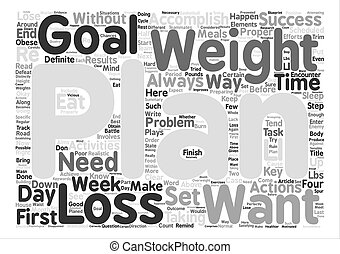 How to Properly Plan for Successful Weight Loss text background word cloud concept