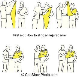 How to sling an injured arm vector illustration outline ...