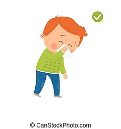 How to sneeze and cough properly. Cute little boy sneezing. When you cough or sneeze cover your mouth with a tissue. Prevention against Covid-19 and Infection. Hygiene Concept. Vector illustration.
