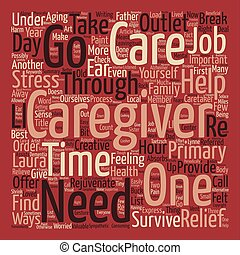How to Survive as a Primary Caregiver text background word cloud concept