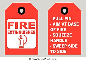 How to use a fire extinguisher informational tags front and back side