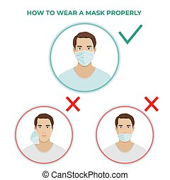 How to wear medical mask properly vector icons illustration.