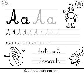 how to write letter A workbook - Black and White Cartoon...