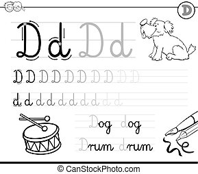 how to write letter D workbook