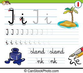 how to write letter I workbook for children - Cartoon...