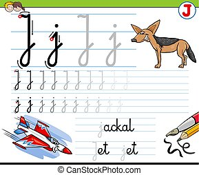 how to write letter J workbook for children - Cartoon...