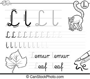 how to write letter L workbook - Black and White Cartoon...