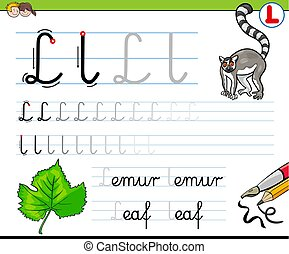 how to write letter L workbook for children - Cartoon...