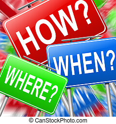 How when and where. - Abstract style illustration depicting...
