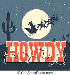 Howdy Christmas card illustration with farm animals on winter holiday night. Vector holiday text