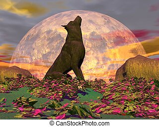 Howling wolf - 3D render - Wolf howling in the nature with...