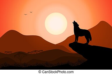 Howling wolf at sunset stands on a rock