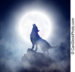Howling wolf - Wolf howling at the moon. Eps 10
