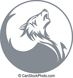 Howling wolf - Stylized wolf graphics vector