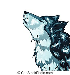 Howling Wolf Head - Stylized cartoon gray wolf head, howling...