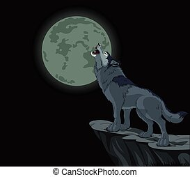 Illustration of howling wolf at the full moon
