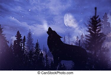 Howling Wolf in Wilderness. Mountain Landscape with Falling...