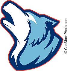 Clipart picture of a howling wolf cartoon mascot logo character