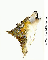 Howling Wolf - Watercolor Painting of a Wolf Howling