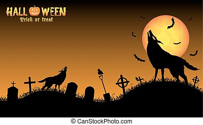 howling wolf with halloween