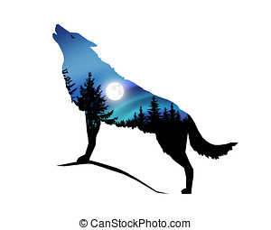 Howling wolf with moonlight. - Silhouette of howling wolf...