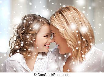 hozzásimulás, lány, anya