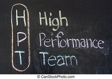 HPT acronym High Performance Team, color chalk handwriting on blackboard