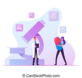 Hpv, Human Papillomavirus Infection Medication Concept. Woman with Huge Pill in Hands Chatting with Male Doctor near Microscope in Laboratory or Clinic. Virology Cartoon Flat Vector Illustration