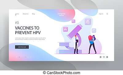 Hpv, Human Papillomavirus Infection Medication Website Landing Page. Woman with Huge Pill in Hands Chatting with Male Doctor near Microscope in Lab Web Page Banner. Cartoon Flat Vector Illustration