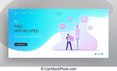 Hpv, Human Papillomavirus Infection Prevention and Vacciantion Website Landing Page. Man Carry Medical Box with Instruments and Tools at Huge Syringe Web Page Banner. Cartoon Flat Vector Illustration