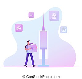 Hpv, Human Papillomavirus Infection Vaccination Concept. Man Carry Medical Box with Instruments and Tools near Huge Syringe. Prevention Measures, Virus, Immunization Cartoon Flat Vector Illustration