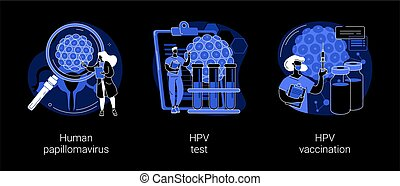 HPV infection abstract concept vector illustrations. Human papillomavirus, HPV test and vaccination, cervical cancer early diagnostics, laboratory sample, virus screening dark mode metaphor.