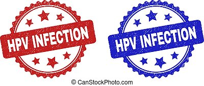 Rosette HPV INFECTION seal stamps. Flat vector grunge seal stamps with HPV INFECTION caption inside rosette with stars, in blue and red color versions. Imprints with grunge style.