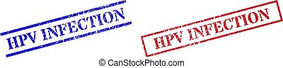 Grunge HPV INFECTION rubber stamps in red and blue colors. Stamps have distress style. Vector rubber imitations with HPV INFECTION caption inside rectangle frame, or parallel lines.