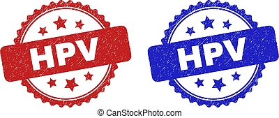 Rosette HPV seal stamps. Flat vector textured seal stamps with HPV caption inside rosette with stars, in blue and red color variants. Rubber imitations with unclean style.