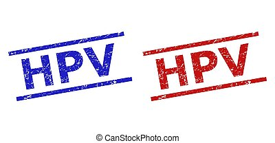 Blue and red HPV watermarks on a white background. Flat vector grunge watermarks with HPV text between parallel lines. Watermarks with grunged texture.