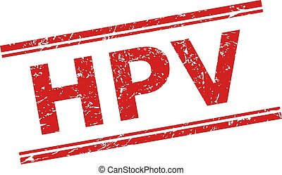 Red HPV stamp seal on a white background. Flat vector scratched seal stamp with HPV phrase inside double parallel lines. Rubber imitation with scratched texture.