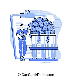 HPV test abstract concept vector illustration. Human papillomavirus test kit, results, testing for man, examination for women, cervical cancer prevention, HPV early diagnostics abstract metaphor.