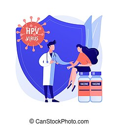 HPV vaccination abstract concept vector illustration. Protecting against cervical cancer, human papillomavirus immunization program, HPV vaccination, prevent infection abstract metaphor.
