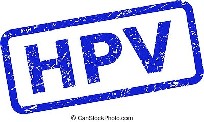 Blue HPV seal stamp on a white background. Flat vector distress seal stamp with HPV phrase is inside rounded rectangle frame. Watermark with grunged texture.