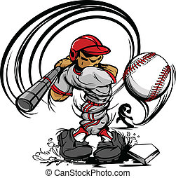 hráč, baseball, karikatura, houpavý, ba