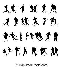 hráč, silhouettes, kopaná