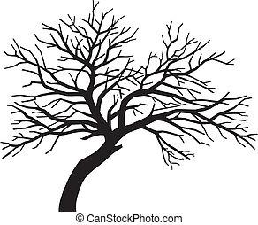 hrůzný, bosý, silueta, strom, čerň