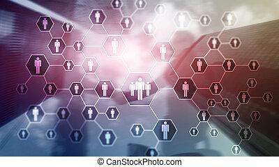 hr, 인적 자원, 신병 모집, 조직, 구조, 와..., 친목회, 네트워크, concept.