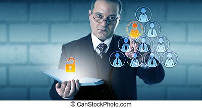 hr, 지도자, 자물쇠로 열는, 접근, 에, 자형의 것, 직원, 파일
