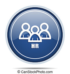 HR blue round web icon. Circle isolated internet button for webdesign and smartphone applications.