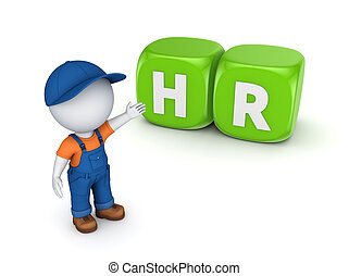 HR concept. Isolated on white background.3d rendered illustration.