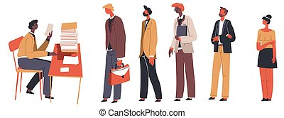 HR department and line of candidates for vacant place - ...